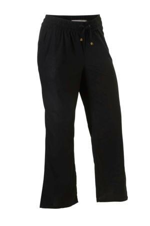 loose fit broek met linnen zwart