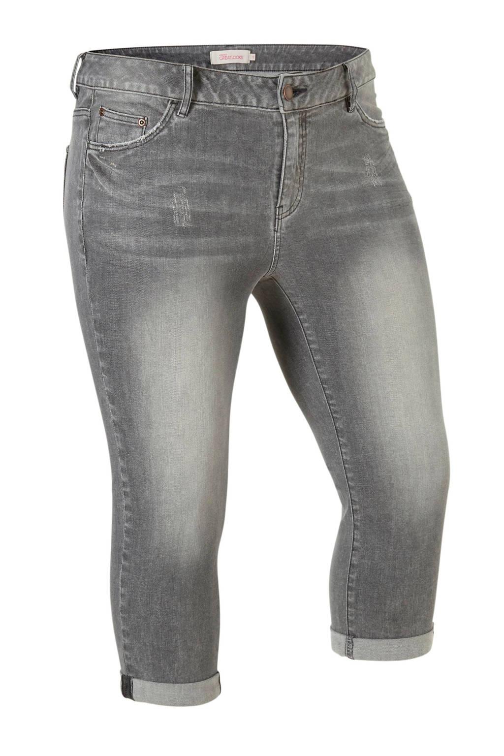 whkmp's great looks skinny capri jeans in used look, Grijs