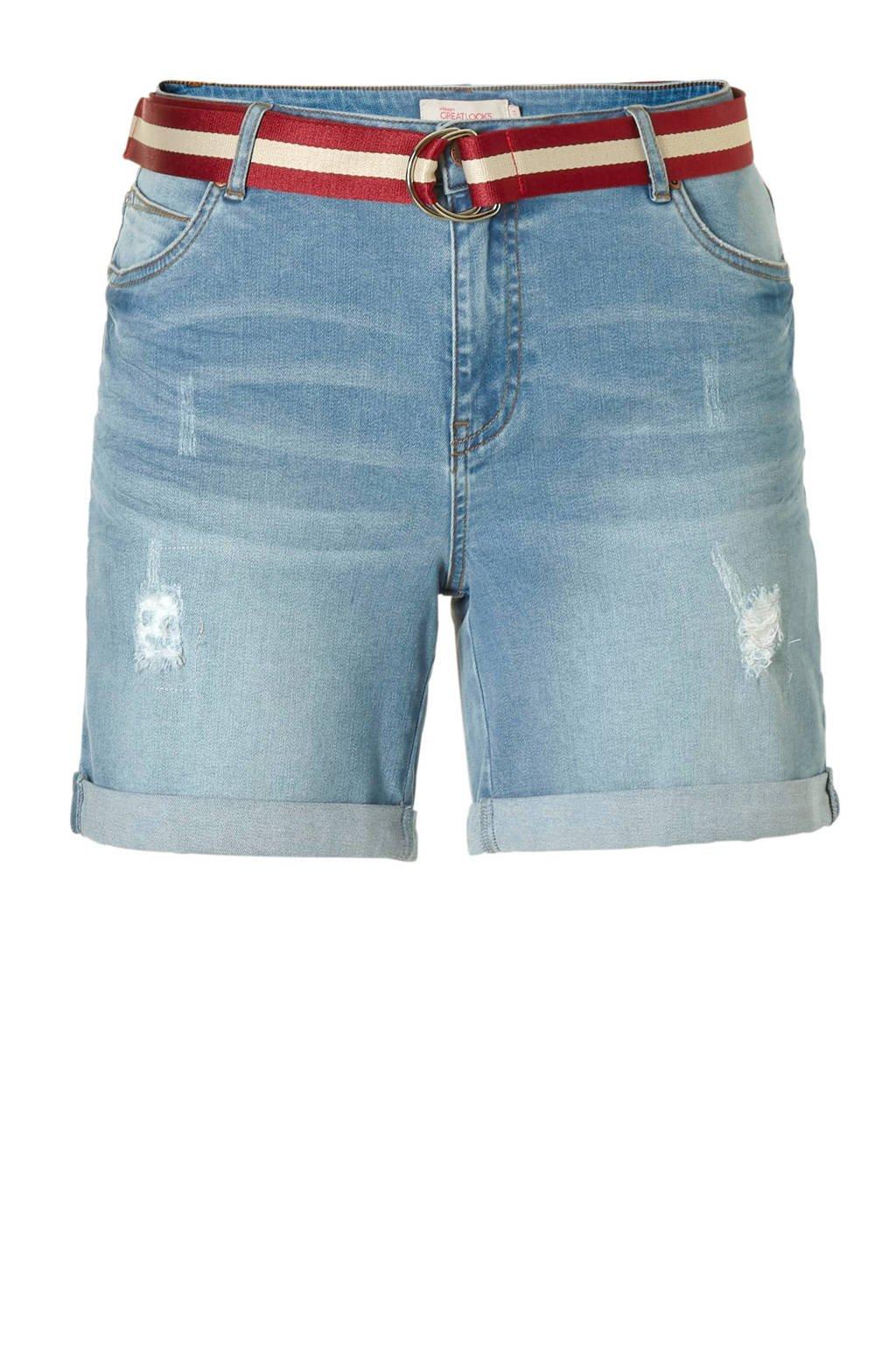 whkmp's great looks denim short met riem, Stonewashed blauw