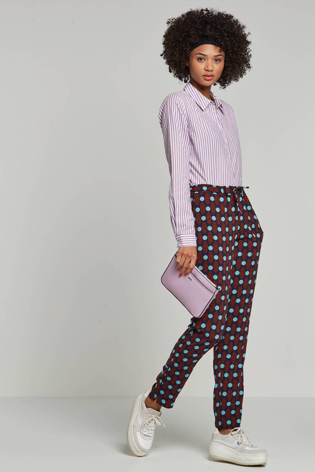 whkmp's own broek met etnische print, Donkerblauw/brique/turquise