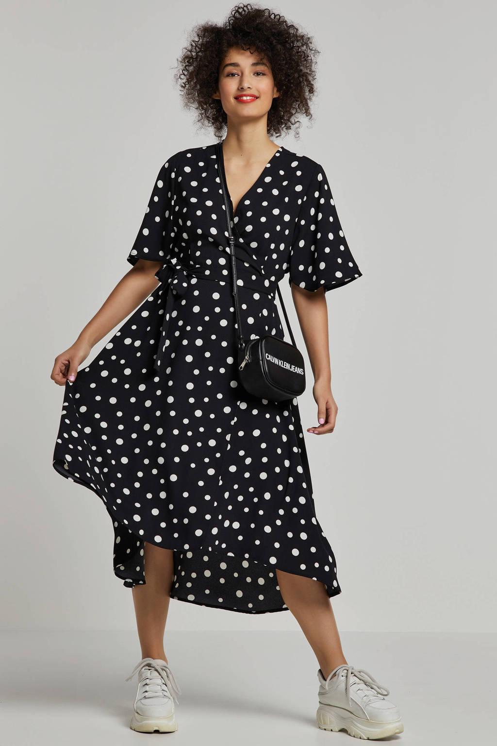 whkmp's own wikkel-look jurk met stippenprint, Zwart/wit