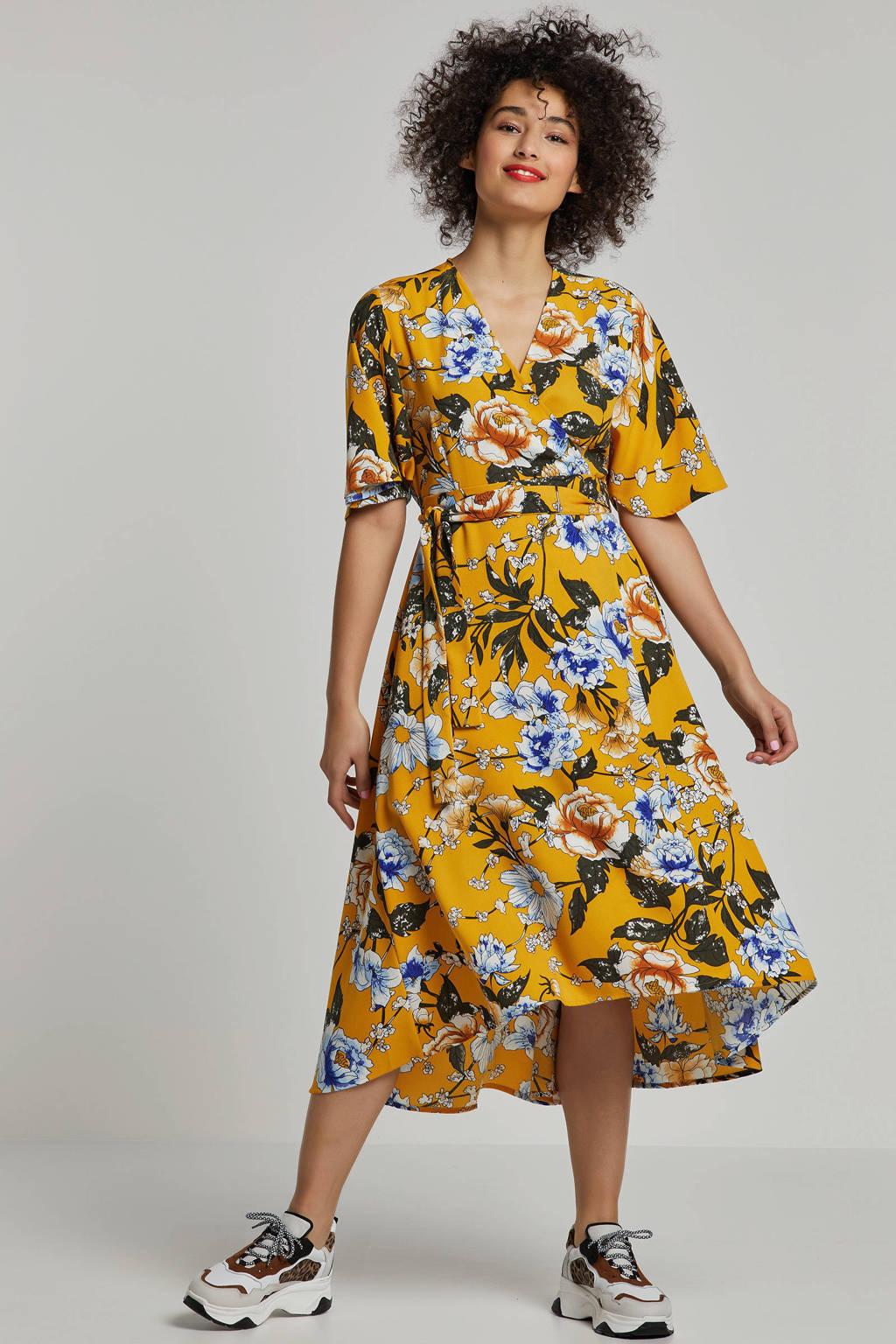 whkmp's own wikkel-look jurk met bloemenprint, Okergeel/groen