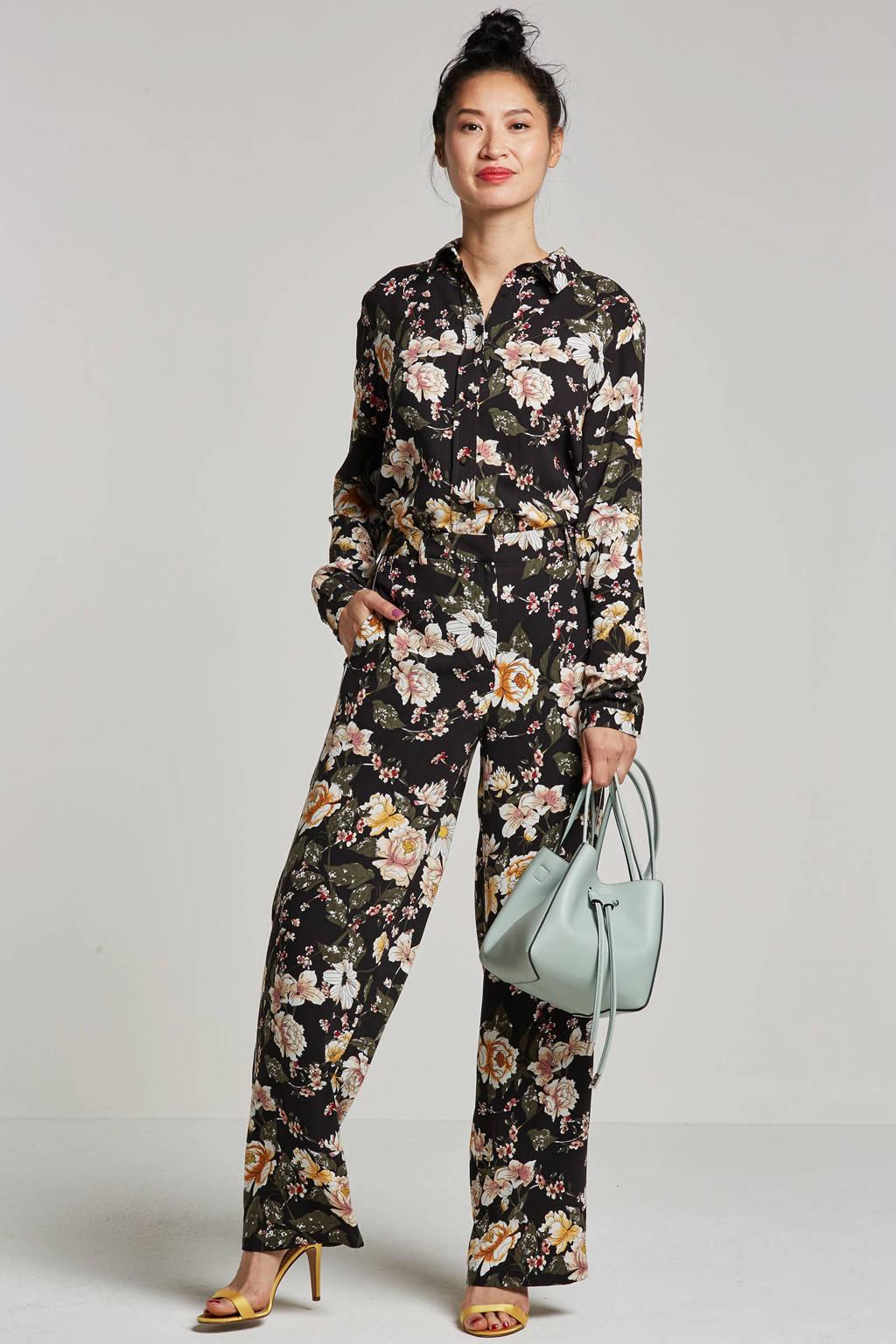 whkmp's own blouse met bloemenprint, Zwart/ecru/groen/roze/geel