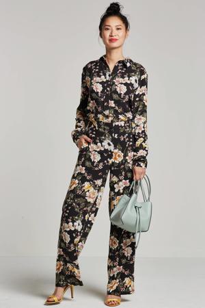 gebloemde blouse zwart/ecru/groen/roze/geel