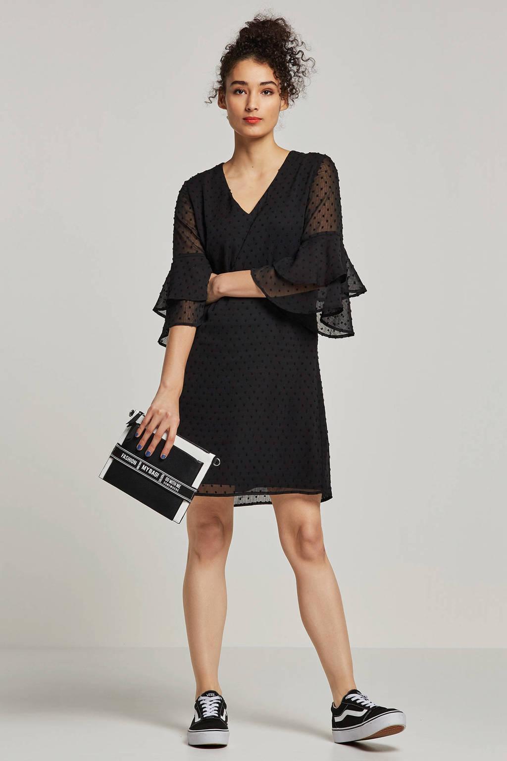 whkmp's own gevoerde voile jurk, Zwart