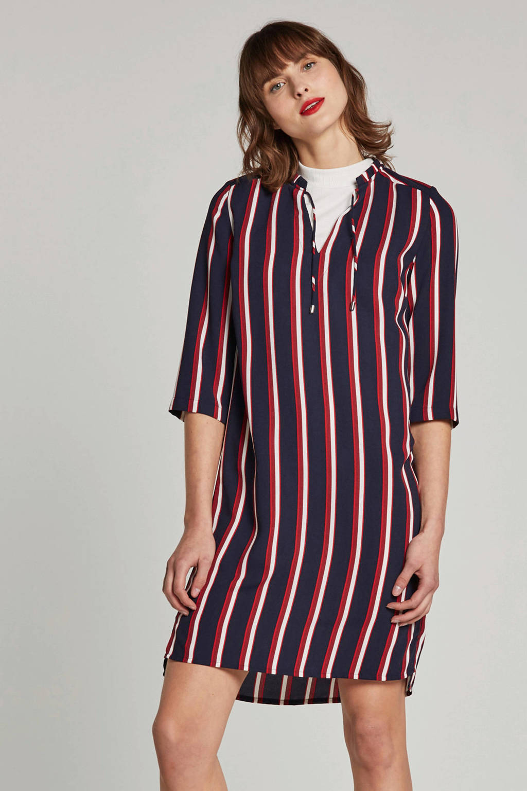 whkmp's own jurk met streepprint, Donkerblauw/rood/ecru