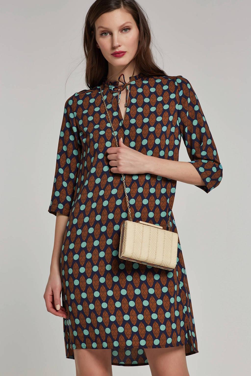whkmp's own jurk met etnische print, Donkerblauw/brique/turquoise