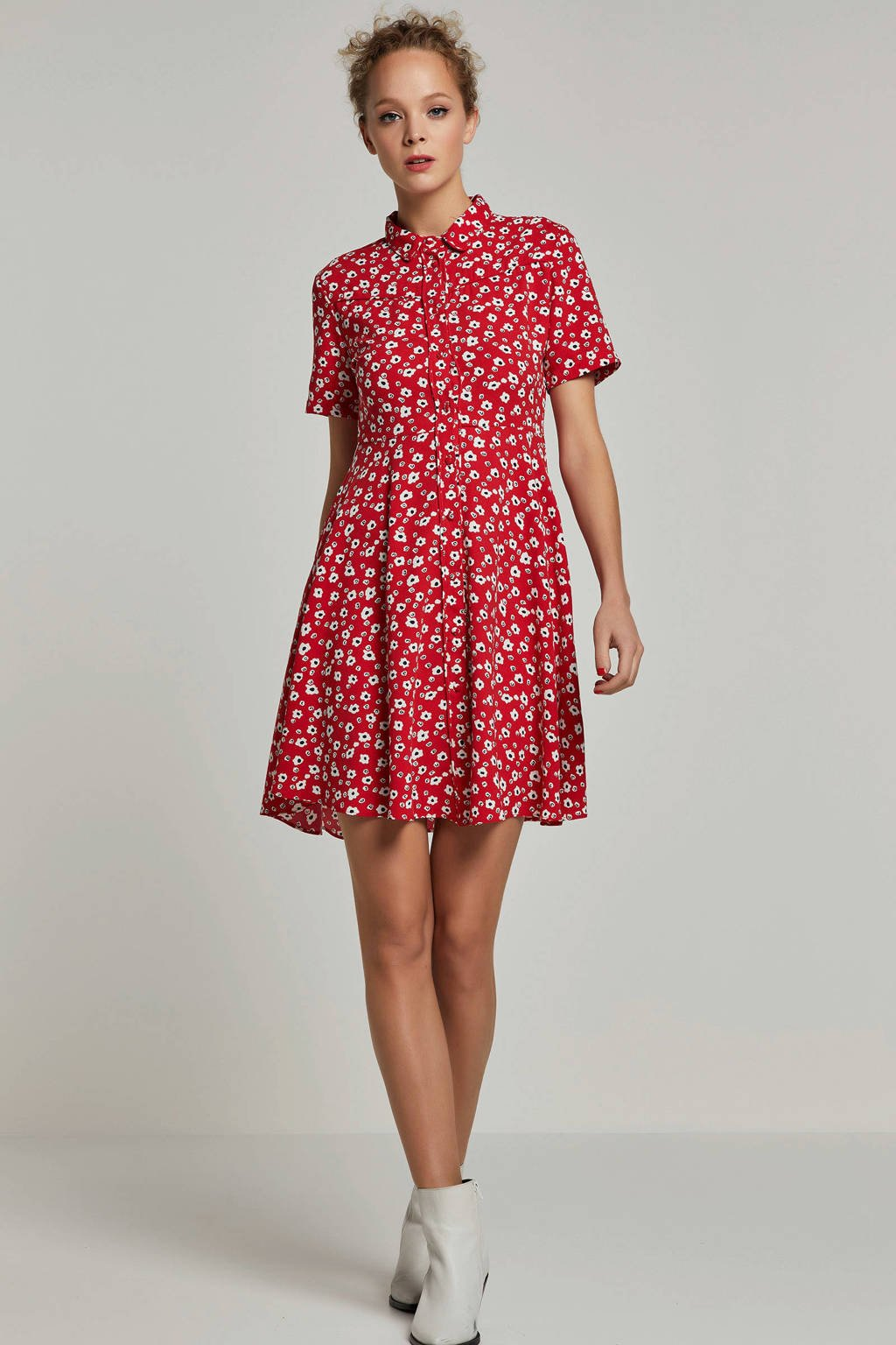 whkmp's own A-lijn blousejurk met bloemenprint, Rood