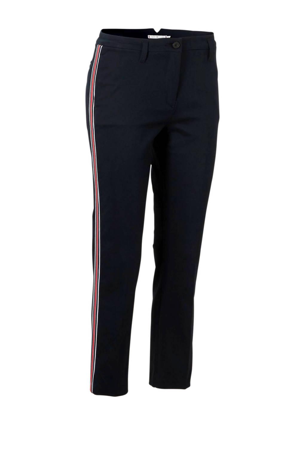 Tommy Hilfiger slim fit broek met contrasterende bies, Blauw