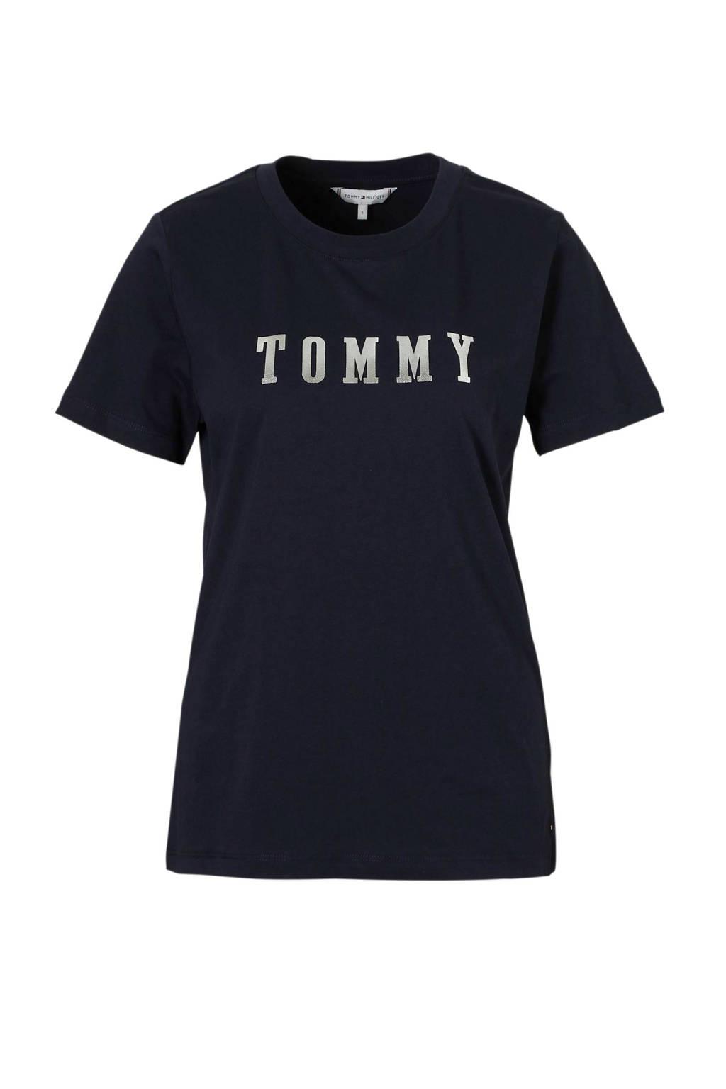 Tommy Hilfiger T-shirt Holli met logo opdruk, Donkerblauw