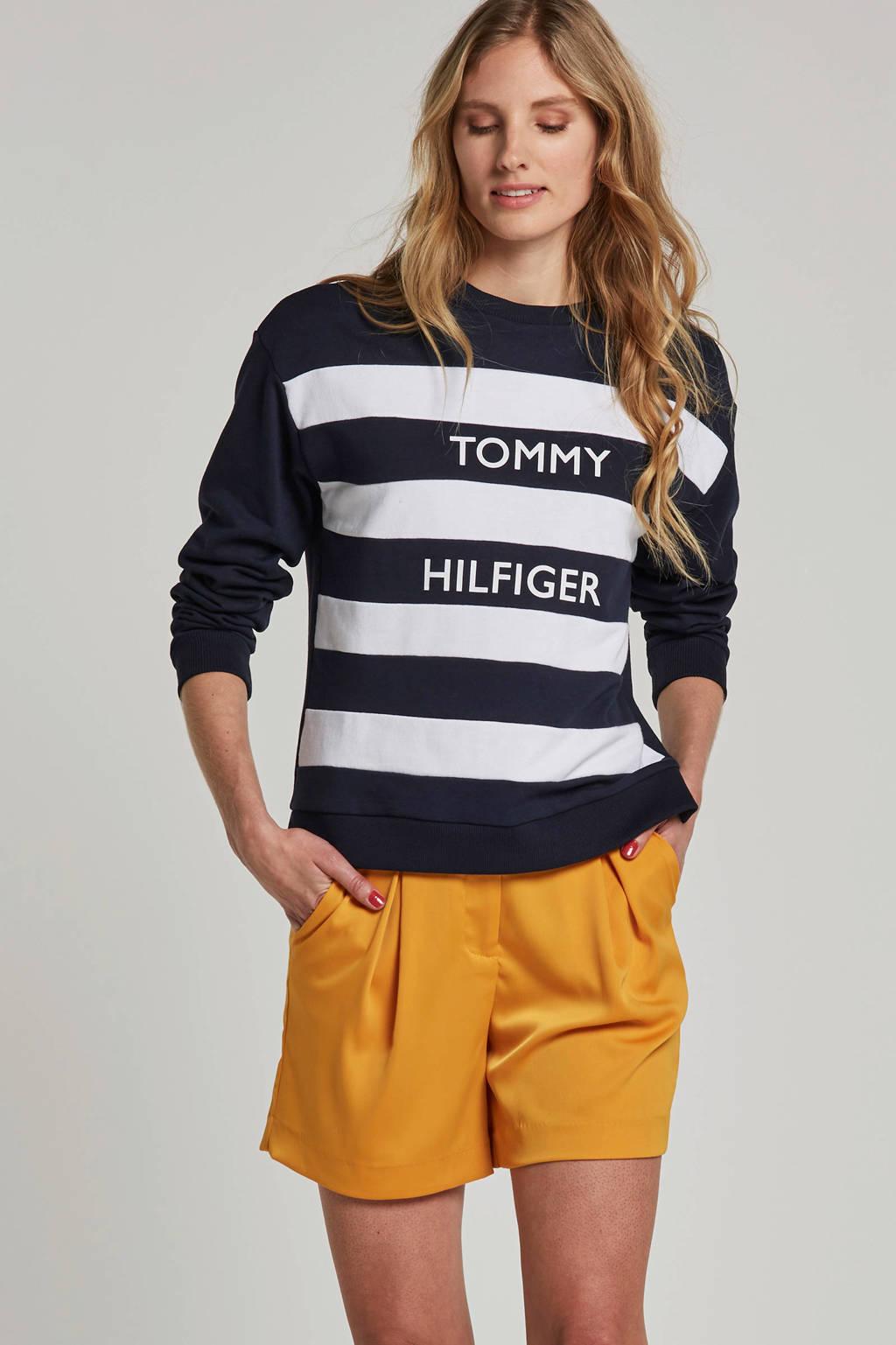 Tommy Hilfiger gestreepte trui met printopdruk, Blauw/wit
