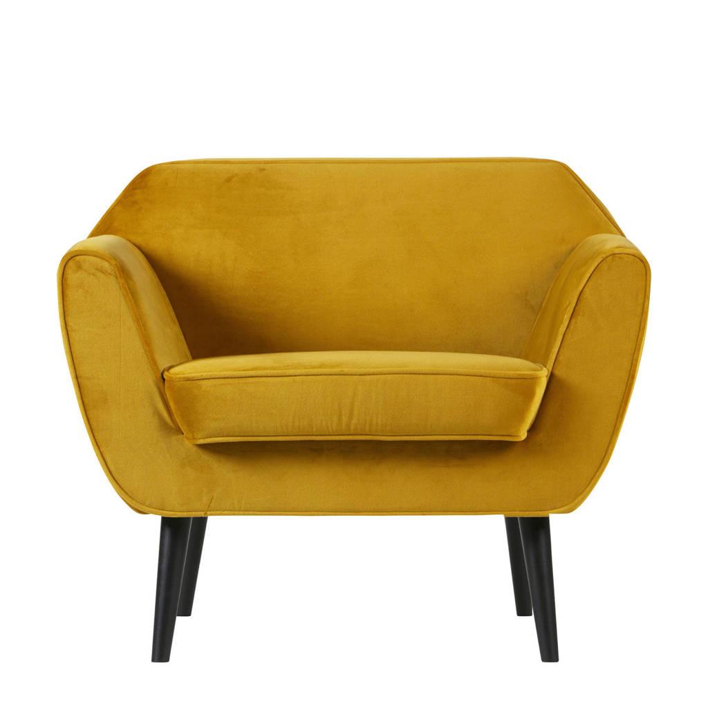 Woood fauteuil Rocco velours, Okergeel