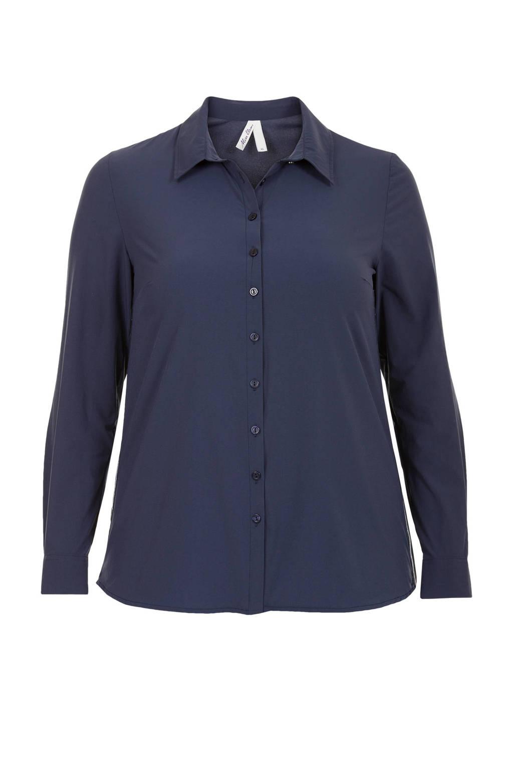 Miss Etam Plus overhemdblouse blauw, Blauw