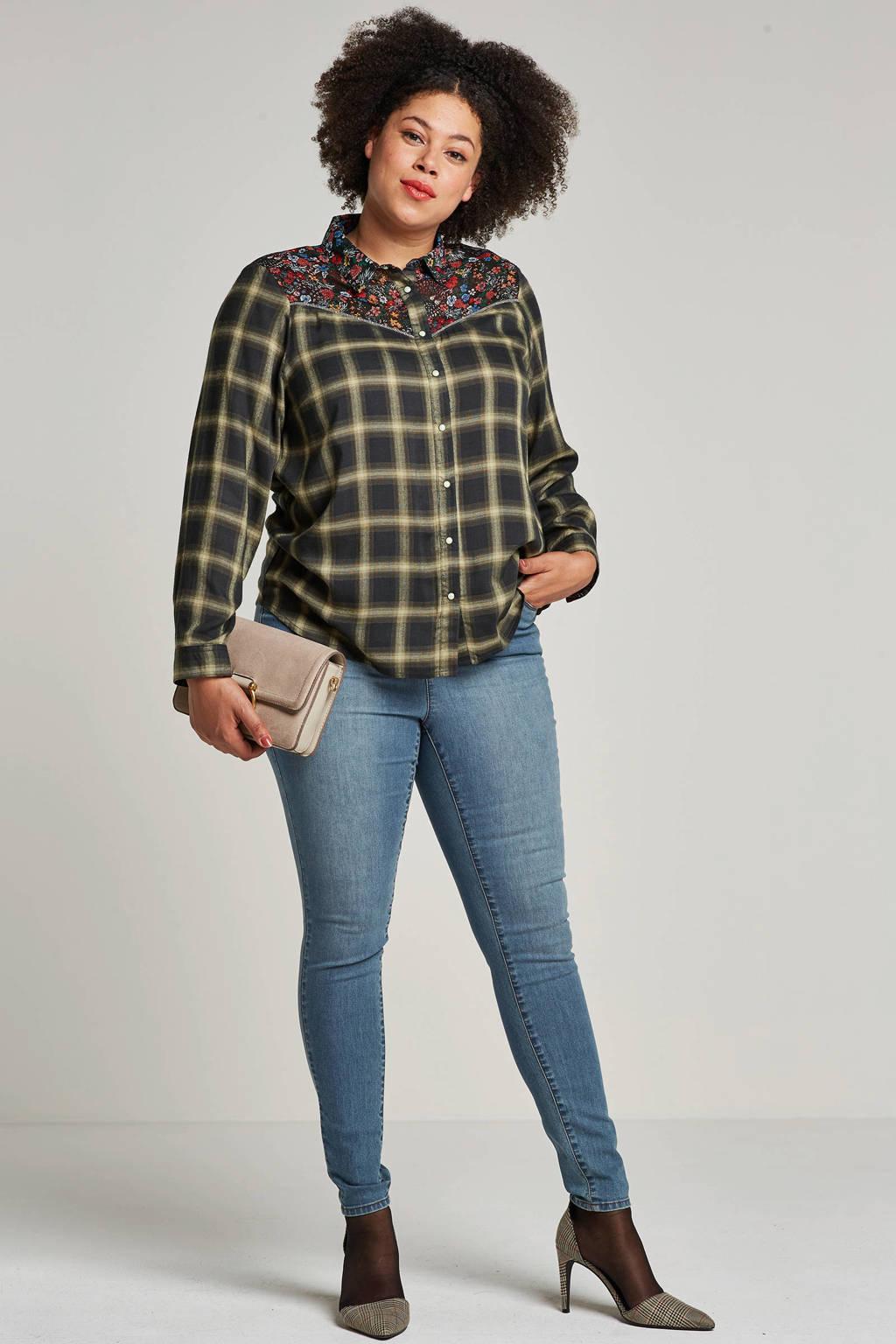 October blouse met bloemenkraag, Groen/Rood/Wit