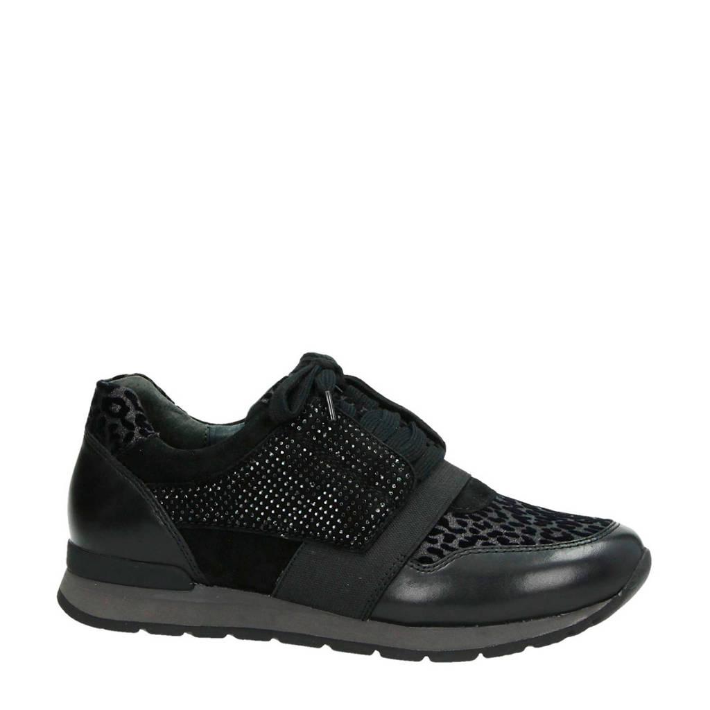 Gabor  leren sneakers zwart, Zwart
