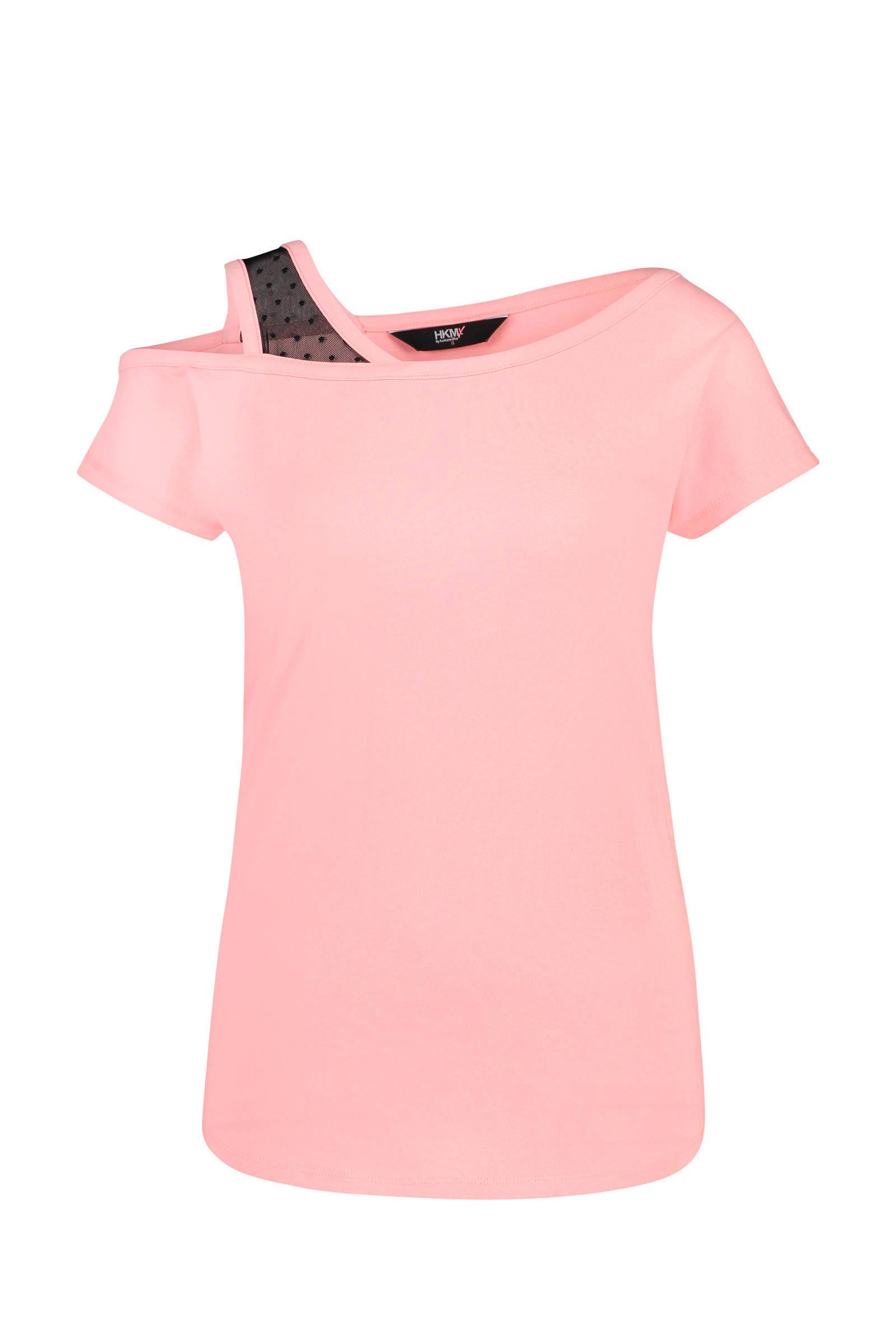 Hunkemöller HKMX sport T-shirt one shoulder roze (dames)