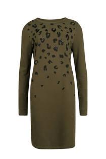 WE Fashion jurk met luipaardprint groen