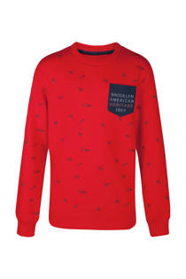 WE Fashion sweater Brooklyn met all over print rood (jongens)