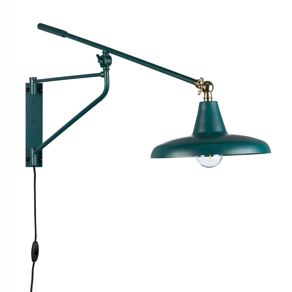 Dutchbone wandlamp Hector, Petrol/goud
