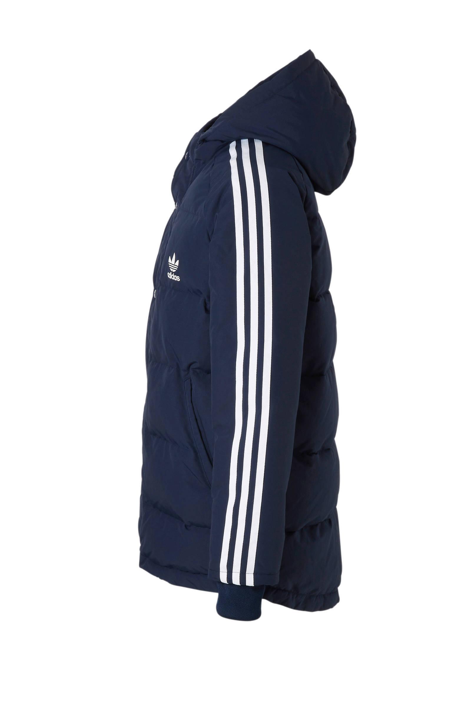 adidas Originals winterjas donkerblauw | wehkamp