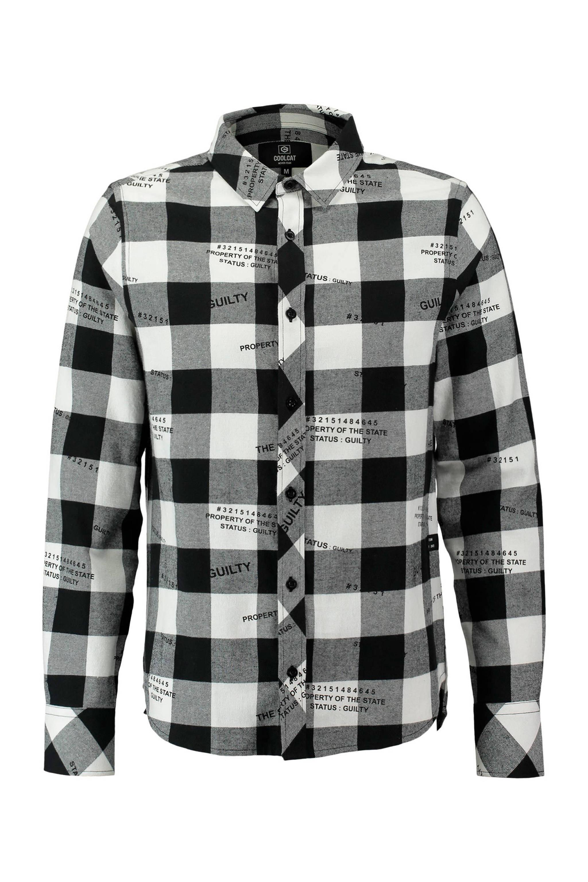 Overhemd Zwart Wit.Coolcat Geruite Regular Fit Overhemd Zwart Wit Wehkamp