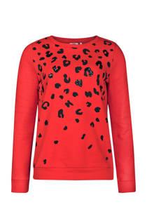 WE Fashion trui met tijgerprint rood (dames)
