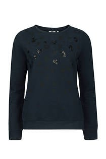 WE Fashion trui met tijgerprint marine (dames)