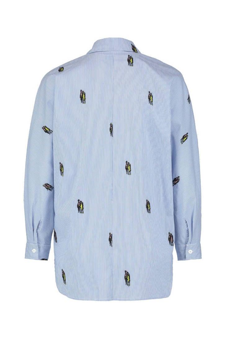 CKS blauw borduursels gestreepte met blouse Nox xwAOFA6H