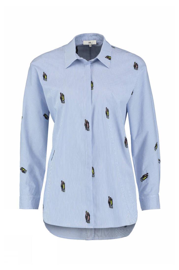 met CKS gestreepte blauw Nox blouse borduursels tYYRq8aw