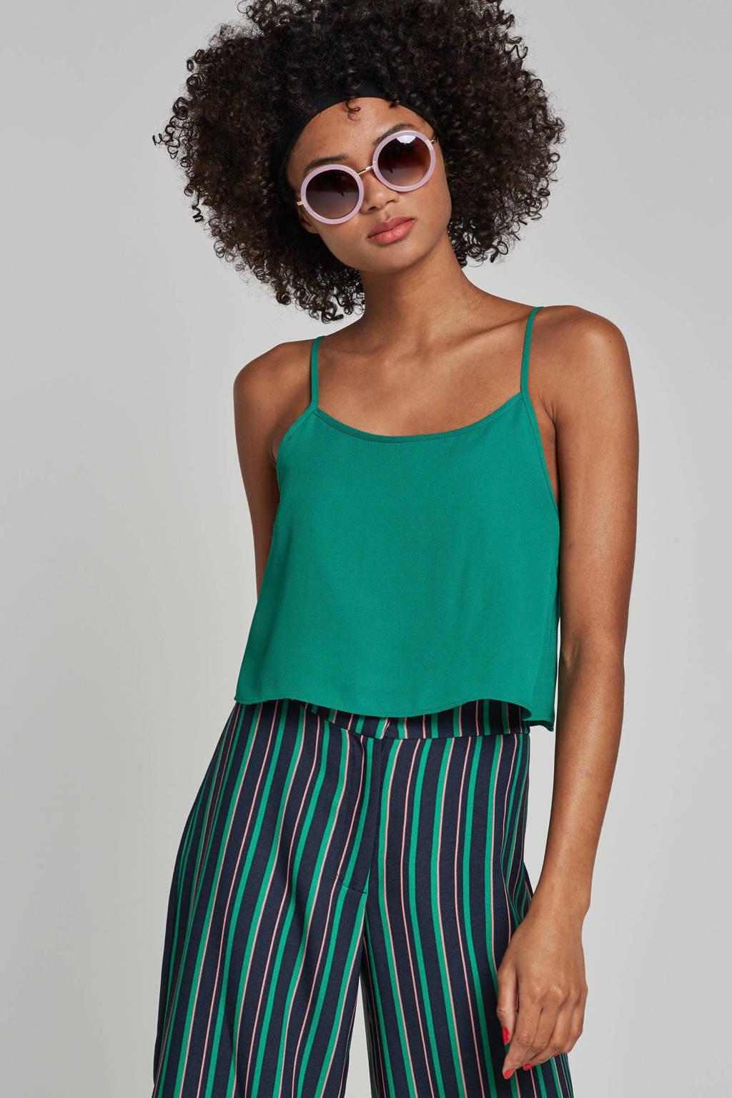 whkmp's own gerecyled polyester gelaagde zomertop, Felgroen