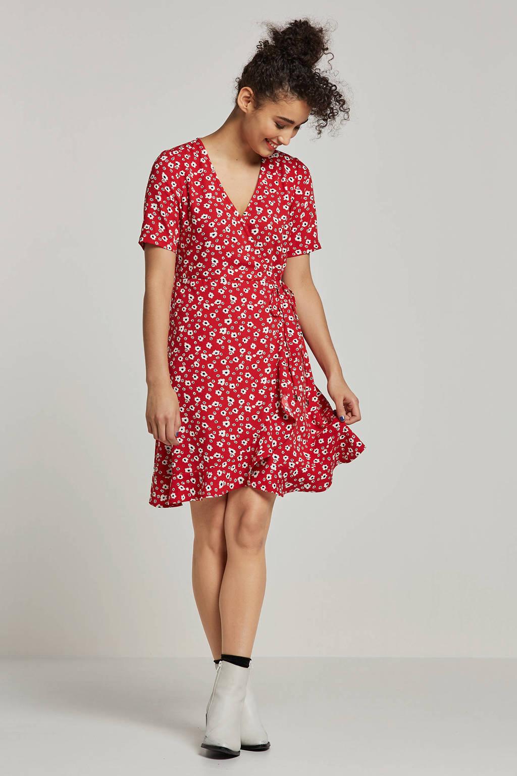 whkmp's own wikkel-look jurk met bloemenprint, Rood/wit/zwart