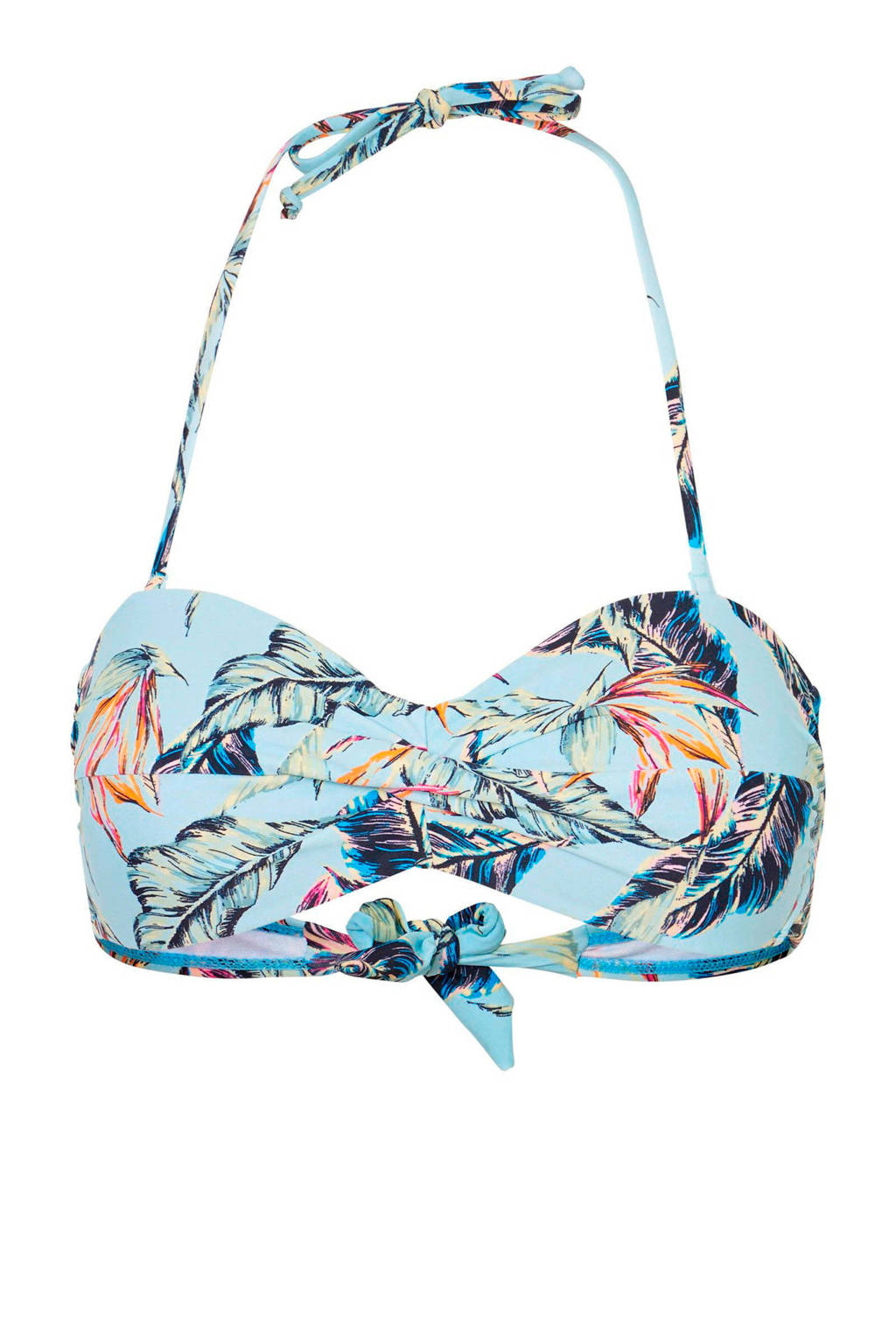 VERO MODA bandeau bikinitop in een all over print blauw, Lichtblauw/groen/oranje