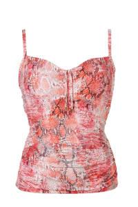 Cyell tankini bikinitop in all over print rood, Rood/roze