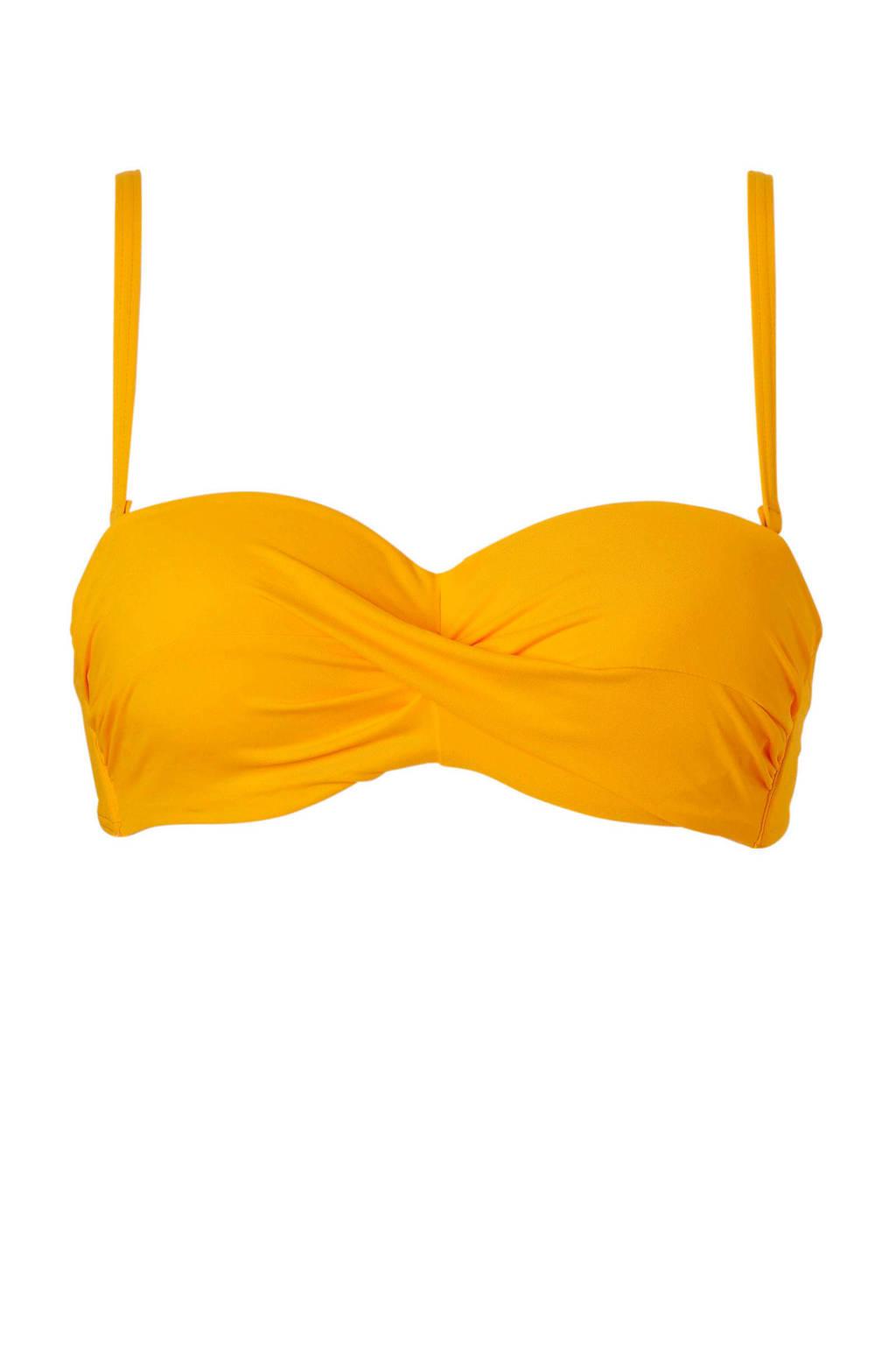 Cyell bandeau bikinitop met plooien geel, Geel