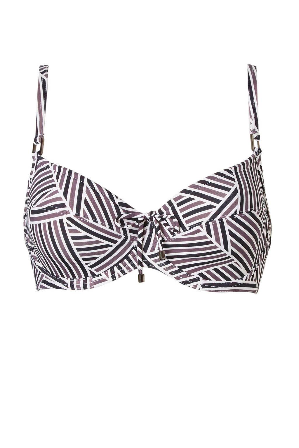 Cyell beugel bikinitop met all over print zwart, Zwart/wit/bruin