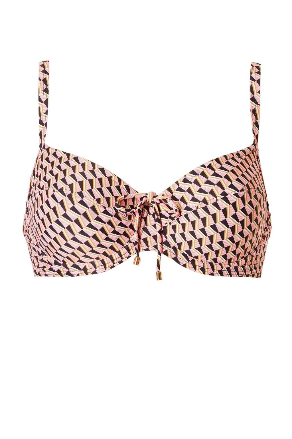 Cyell beugel bikinitop met all-over print roze, Roze/zwart