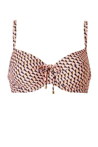 beugel bikinitop met all-over print roze