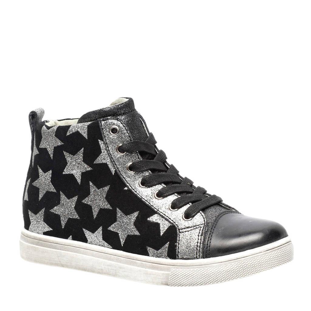 TwoDay  leren sneakers met sterren zwart, Zwart/zilver
