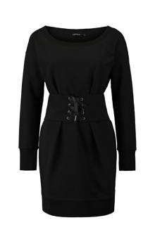jurk met corset detail zwart