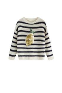Mango Kids gestreepte trui met pailletten ecru/blauw (meisjes)