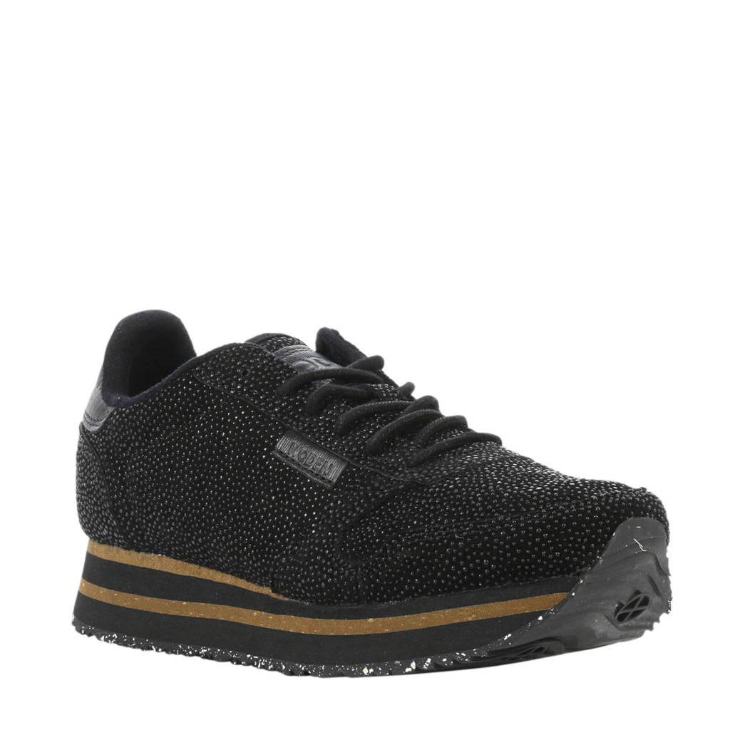 Woden   suède sneakers zwart, Zwart