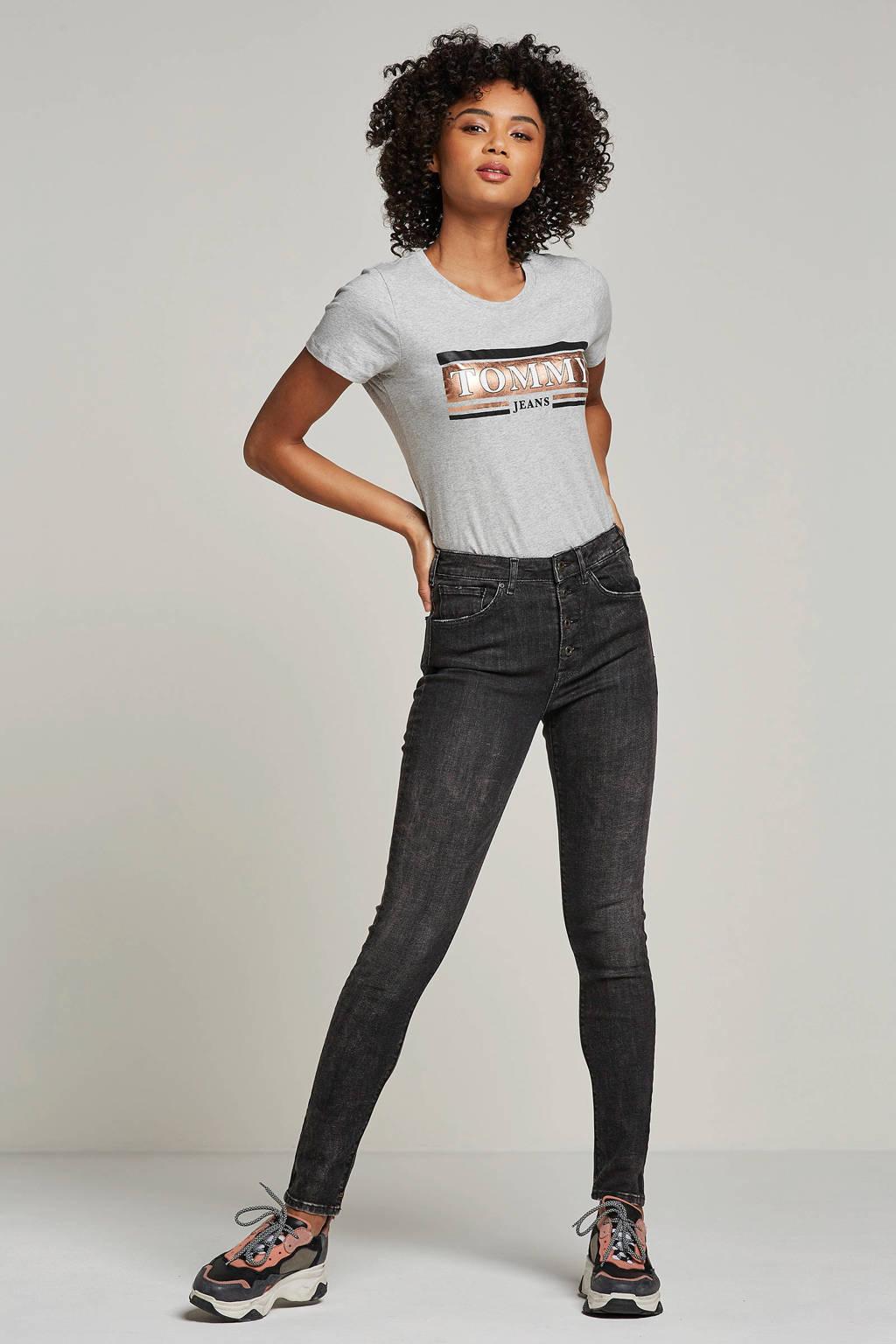 Tommy Jeans T-shirt met logo, Grijs