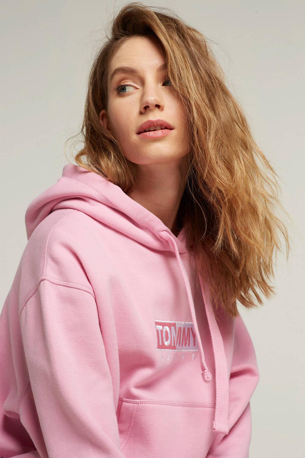 Tommy Jeans hoodie met borduursel, Roze