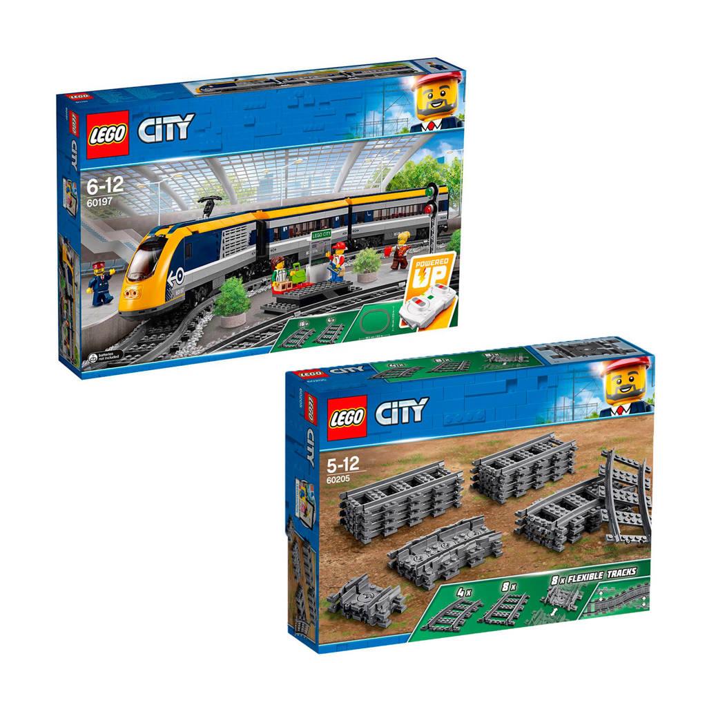 LEGO City passagierstrein 60197 + treinrails 60205
