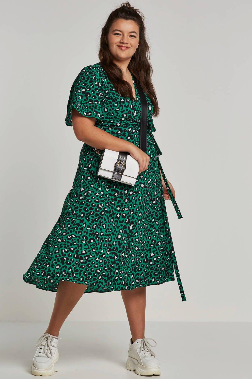 whkmp's great looks wikkeljurk van gerecycled polyester met panterprint, Groen/zwart/ecru
