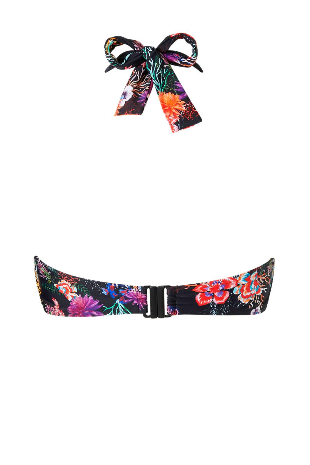 JUNAROSE halter bikinitop met bloemenprint, Zwart/rood/paars