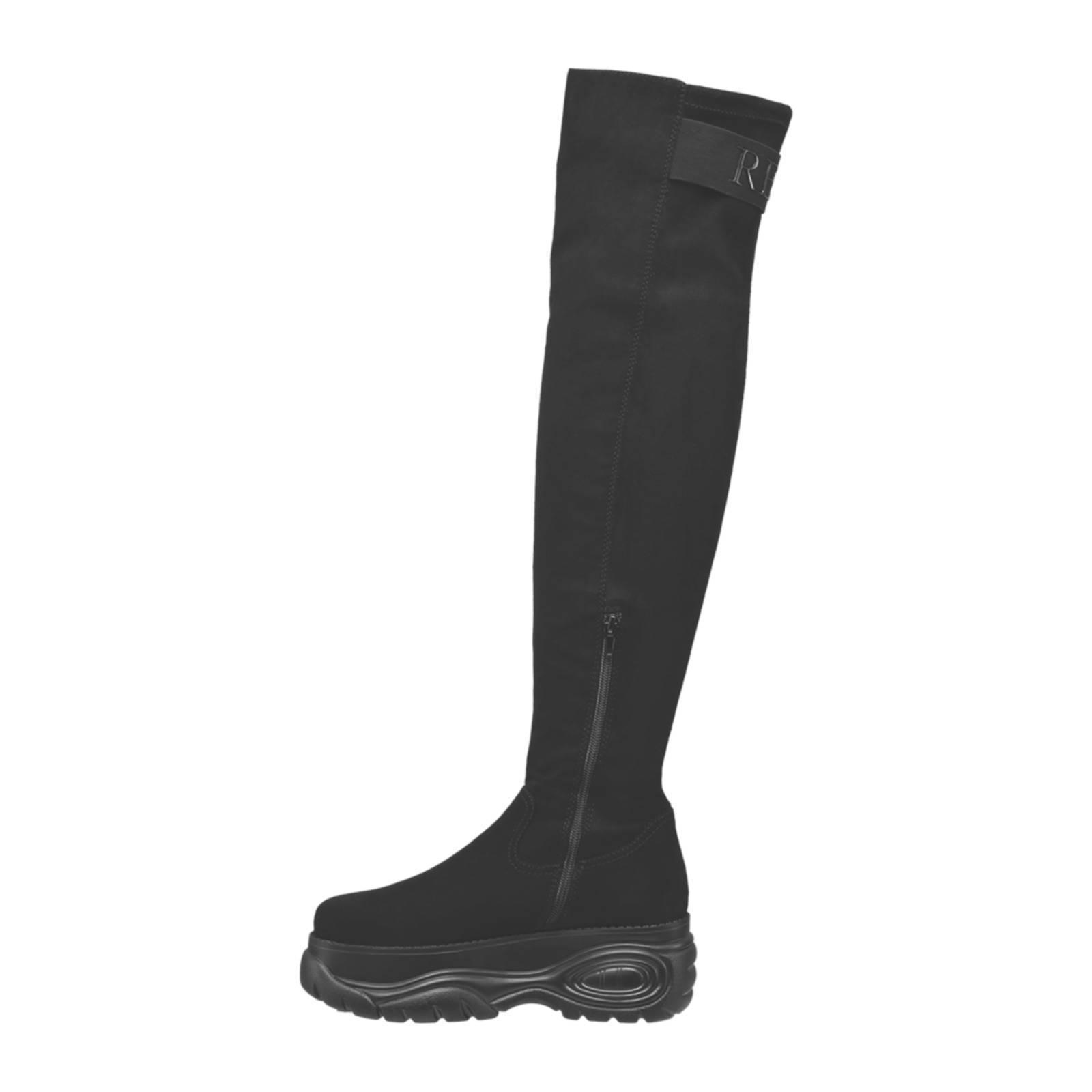 overknee laarzen met plateauzool zwart