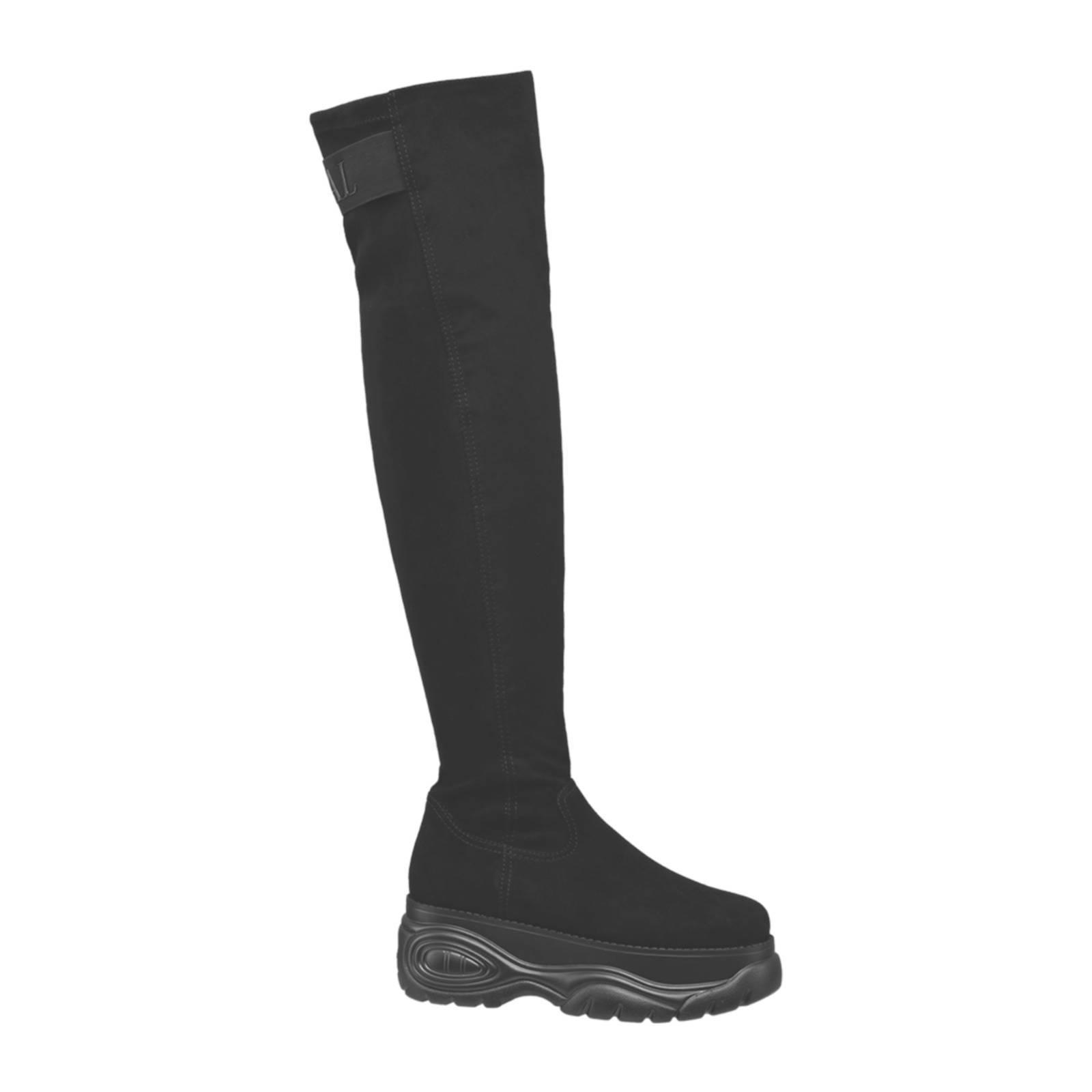 vanHaren Graceland overknee laarzen met plateauzool zwart