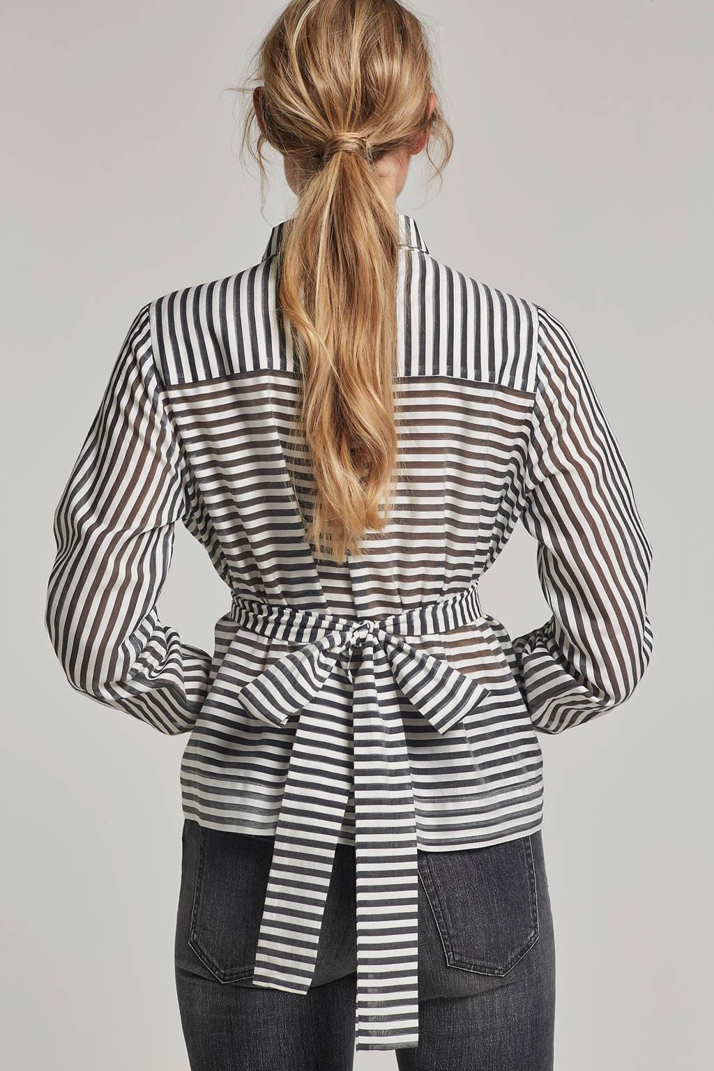 Fifth House blouse Suki met streepprint, Wit/zwart
