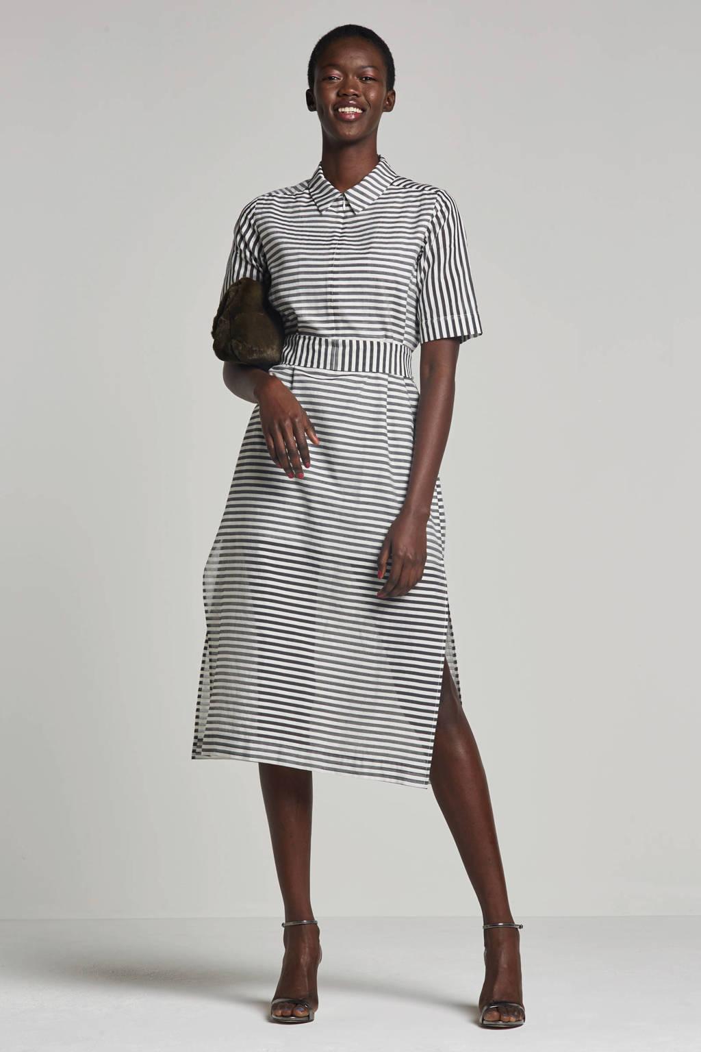 Fifth House jurk Suki met streepprint, Wit/zwart